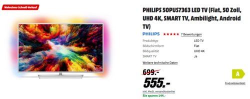 PHILIPS 50PUS7363 50 Zoll Ambilight LED-TV - jetzt 2% billiger