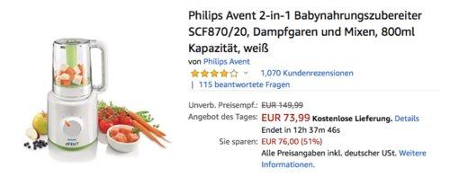 Philips Avent 2-in-1 Babynahrungszubereiter SCF870/20 (Dampfgaren und Mixen) - jetzt 23% billiger