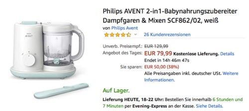 Philips AVENT 2-in1-Babynahrungszubereiter Dampfgaren & Mixen SCF862/02 - jetzt 11% billiger