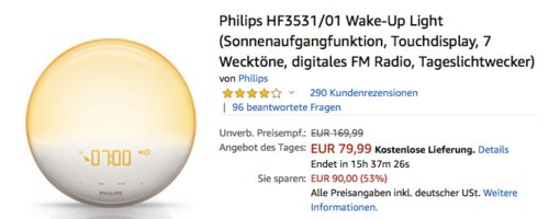 Philips HF3531/01 Tageslichtwecker - jetzt 27% billiger