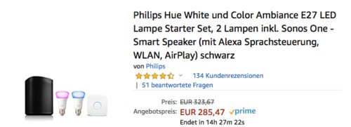 Philips Hue White und Color Ambiance E27 LED Lampe Starter Set, 2 Lampen inkl. Sonos One Lautsprecher - jetzt 12% billiger