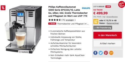 Philips Kaffeevollautomat 5000 Serie EP5333/10 Latte Go inkl. Thermobecher und Pflegeset - jetzt 20% billiger