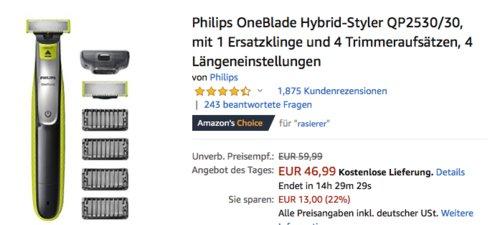 Philips OneBlade Hybrid-Styler QP2530/30 mit 1 Ersatzklinge und 4 Trimmeraufsätzen - jetzt 17% billiger