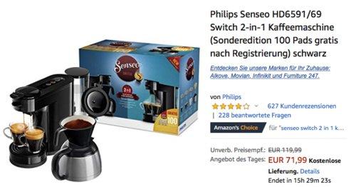 Philips Senseo HD6591/69 Switch 2-in-1 Kaffeemaschine - jetzt 18% billiger
