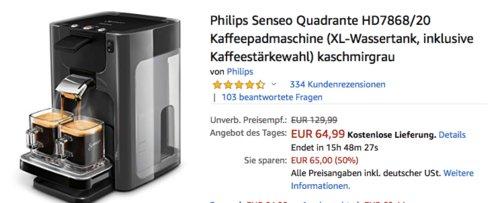 Philips Senseo Quadrante HD7868/20 Kaffeepadmaschine - jetzt 28% billiger