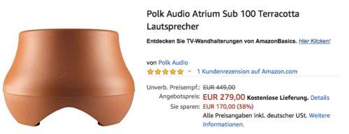 Polk Audio Atrium Sub 100 Terracotta Lautsprecher - jetzt 38% billiger