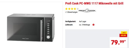 Profi Cook PC-MWG 1117 2 in 1 Mikrowelle - jetzt 9% billiger