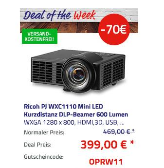 Ricoh PJ WXC1110 Mini LED Kurzdistanz DLP-Beamer, 600 Lumen - jetzt 15% billiger