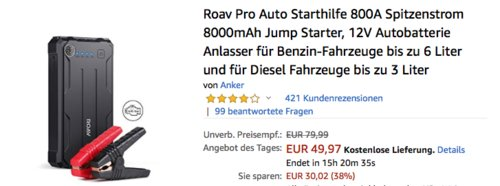 Roav Pro Auto Starthilfe 800A, Jump Starter - jetzt 19% billiger