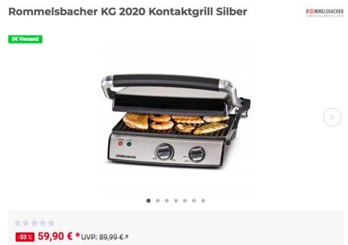 Rommelsbacher KG 2020 Kontaktgrill Silber - jetzt 13% billiger