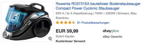 Rowenta RO3731EA beutelloser Bodenstaubsauger, schwarz/blau - jetzt 13% billiger