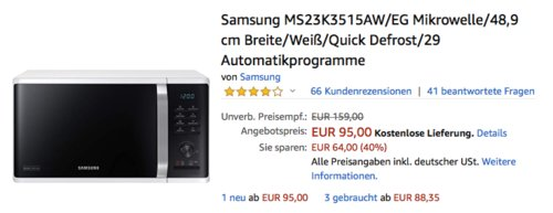 Samsung MS23K3515AW/EG Mikrowelle, weiß, 23 Liter - jetzt 24% billiger