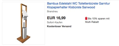 Sanwood WC Kombi-Bürstengarnitur Bambus - jetzt 39% billiger