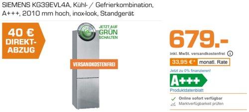 Saturn - Siemens Direktabzug - Aktion: z.B. SIEMENS KG39EVL4A Kühl- / Gefrierkombination, A+++ - jetzt 6% billiger
