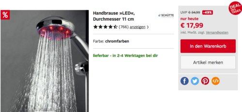 """Schütte Handbrause/Duschkopf """"LED"""" 11 cm - jetzt 20% billiger"""