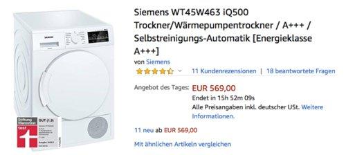 Siemens WT45W463 iQ500 Trockner/Wärmepumpentrockner, A+++ - jetzt 12% billiger