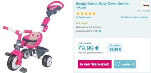 Smoby Dreirad Baby Driver Komfort - Rosa - jetzt 18% billiger