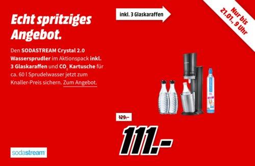 """SodaStream """"Crystal 2.0"""" Titan Wassersprudler inkl. 3x Glaskaraffen und Kohlensäurezylinder - jetzt 10% billiger"""