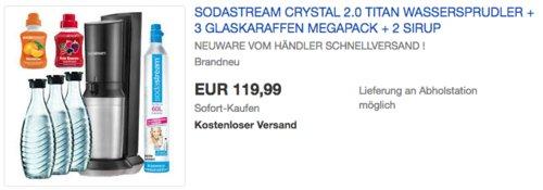 SodaStream Crystal 2.0 Titan Wassersprudler Megapack inkl. 3 Glaskaraffen, - jetzt 7% billiger