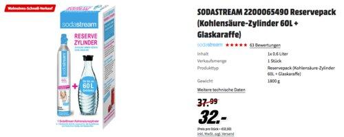 SODASTREAM Reservepack (Kohlensäure-Zylinder 60L + Glaskaraffe) - jetzt 16% billiger