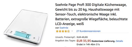 Soehnle Page Profi 300 Digitale Küchenwaage bis 20 kg, weiß - jetzt 20% billiger