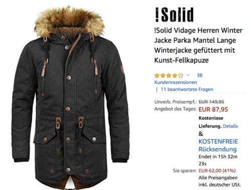 !Solid Vidage Herren Winterjacke mit Kunst-Fellkapuze - jetzt 12% billiger