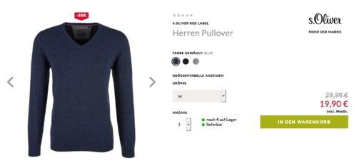 s.Oliver Red Label Herren Pullover mit V-Ausschnitt - jetzt 17% billiger