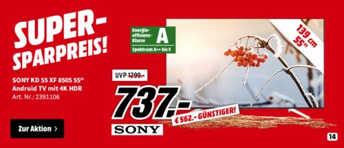 SONY KD-55XF8505 LED TV (55 Zoll, UHD 4K, SMART TV, Android TV) - jetzt 26% billiger