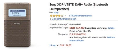 Sony XDR-V1BTD DAB+ Radio/ Bluetooth Lautsprecher - jetzt 14% billiger