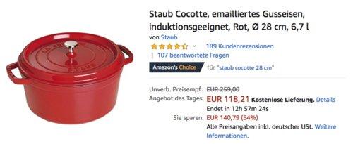 Staub Cocotte/Bräter mit Deckel, 28 cm rund, 6,7 L, rot - jetzt 18% billiger