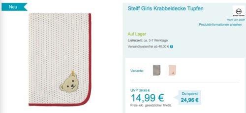 Steiff Babydecke/Krabbeldecke - jetzt 20% billiger