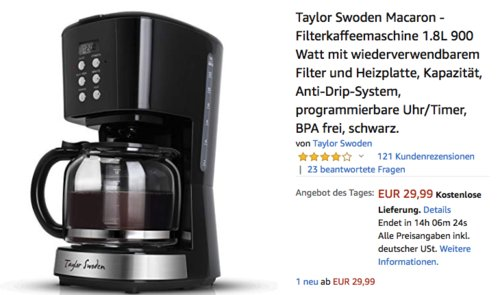Taylor Swoden Macaron - Filterkaffeemaschine mit wiederverwendbarem Filter - jetzt 49% billiger