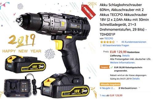 TECCPO Akkuschrauber 18V inkl. 2 x 2,0Ah Akku, Schnellladegerät und Zubehör - jetzt 23% billiger