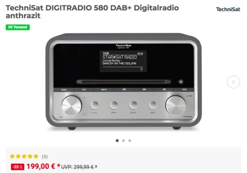 TechniSat DIGITRADIO 580 DAB+ Digitalradio, anthrazit - jetzt 17% billiger