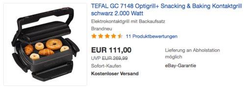 TEFAL GC 7148 Optigrill+ Snacking & Baking Kontaktgrill - jetzt 15% billiger