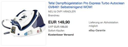 Tefal GV8461 Pro Express Turbo Dampfbügelstation - jetzt 5% billiger