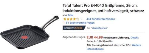 Tefal Talent Pro E44040 Grillpfanne, 26x26 cm - jetzt 22% billiger