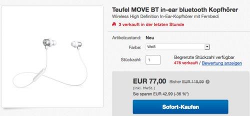 Teufel MOVE BT In-Ear Bluetooth Kopfhörer in Weiß - jetzt 13% billiger