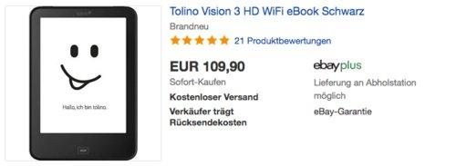 Tolino Vision 3 HD WiFi eBook E-Reader, schwarz - jetzt 15% billiger