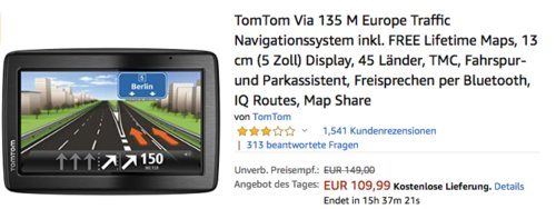 TomTom Via 135 M Europe 5 Zoll Traffic Navigationssystem inkl. FREE Lifetime Maps - jetzt 19% billiger