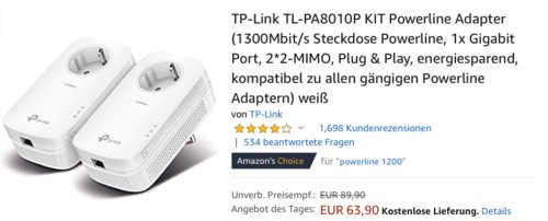 TP-Link TL-PA8010P Powerline Adapter KIT, 1300Mbit/s - jetzt 20% billiger