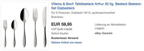 "Villeroy & Boch Tafelbesteck ""Arthur"" 30-teilig - jetzt 25% billiger"