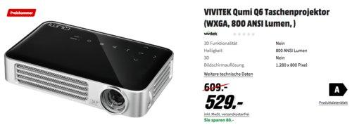 VIVITEK Qumi Q6 Taschenprojektor, 800 ANSI Lumen - jetzt 13% billiger