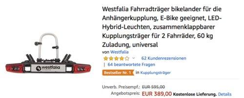 Westfalia Fahrradträger bikelander - jetzt 13% billiger