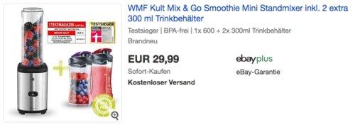 WMF Kult Mix & Go Smoothie Mini Standmixer inkl. 2 extra 300 ml Trinkbehälter - jetzt 21% billiger