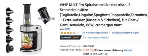 WMF KULT Pro Spiralschneider mit 5 Schneideeinsätzen - jetzt 9% billiger