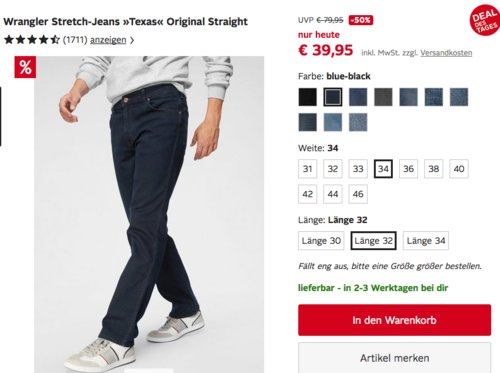 Wrangler Herren Stretch-Jeans »Texas« Original Straight in versch. Farben und Größen - jetzt 23% billiger