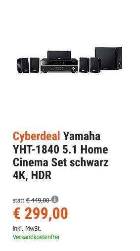 Yamaha YHT-1840 5.1 Home Cinema Set, 4K, HDR - jetzt 6% billiger