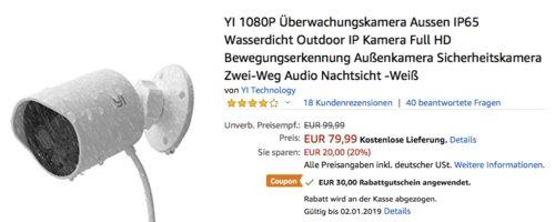 YI 1080P Full-HD Überwachungskamera mit Bewegungserkennung und Nachtsicht - jetzt 38% billiger