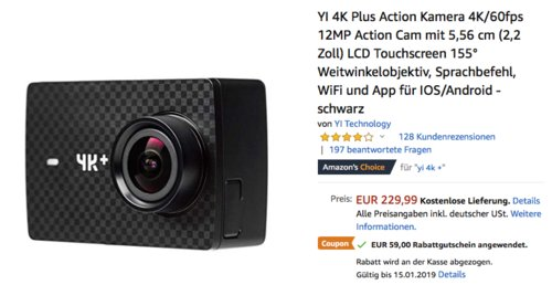 YI 4K Plus Action Kamera, 4K/60fps, 12MP Foto - jetzt 26% billiger